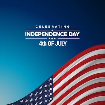 Diseño para el día de la independencia de eeuu con bandera americana
