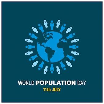 Diseño para el día mundial de la población con gente alrededor de globo