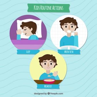 Diseño plano de chico haciendo rutinas diarias