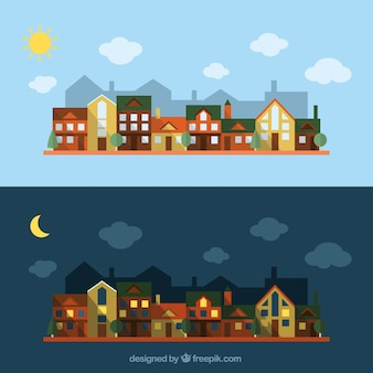 Diseño plano de ciudad de día y de noche