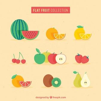Diseño plano de colección de fruta