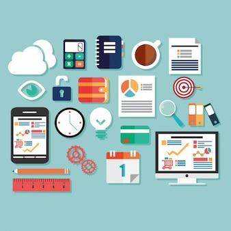 Diseño plano de elementos de negocio