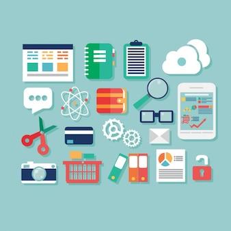 Diseño plano de elementos de negocios