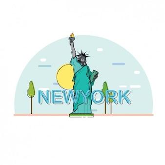 Diseño plano de la estatua de la libertad