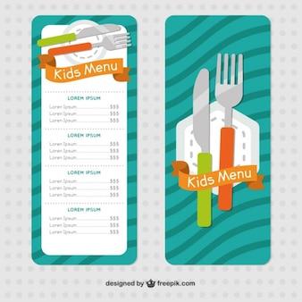 Diseño plano de menú de niños