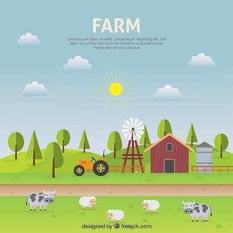 Diseño plano de paisaje de granja