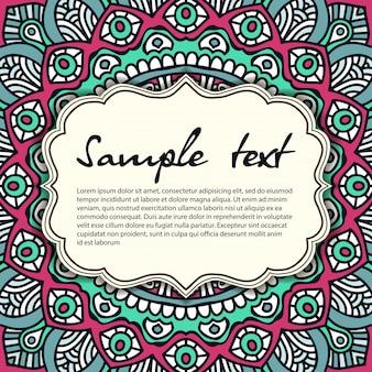 Diseño retro de mandala con espacio para texto