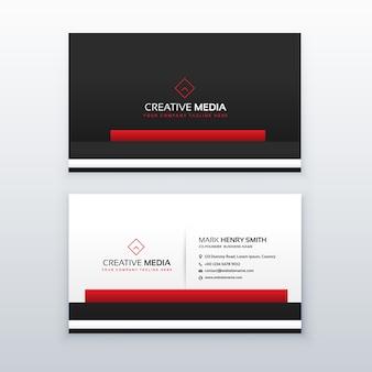 Diseño rojo y negro de tarjeta de visita profesional de negocios