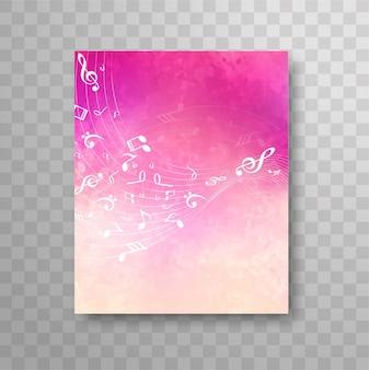 Diseño rosa de folleto de notas de música
