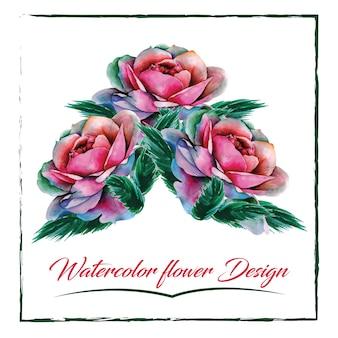 Diseño rosado de las rosas de la acuarela