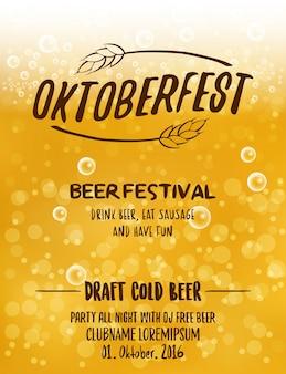 Diseño tipográfico del cartel de Oktoberfest para la fiesta del festival de la cerveza