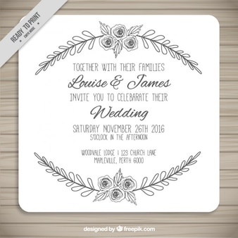 Diseño trazado de invitación de boda
