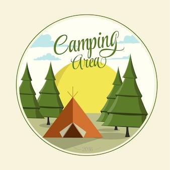 Diseño vectorial de área de acampa