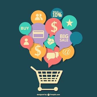 Diseño vectorial plano de compras en línea