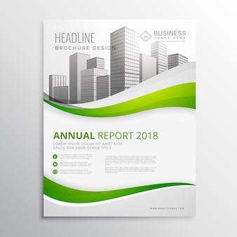 Diseño verde ondulado de flyer de reporte anual