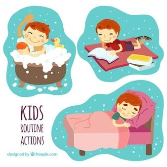 Diseños de niños en acciones rutinarias