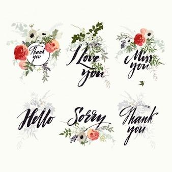 Diseños florales de lettering