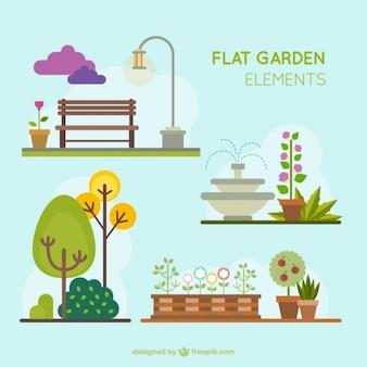 Diseños planos de elementos de jardín