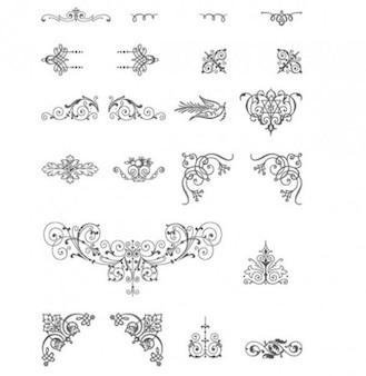 Diseños vectoriales ornamento decorativo de la vendimia b / w