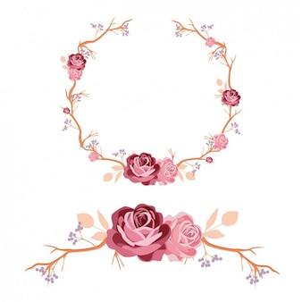 Diseño de corona y ornamento de rosas