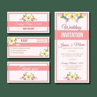 Diseño de invitación de boda floral