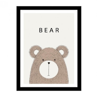 Diseño de oso dibujado a mano