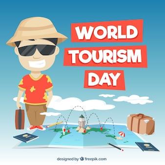 Divertida escena para el día mundial del turismo