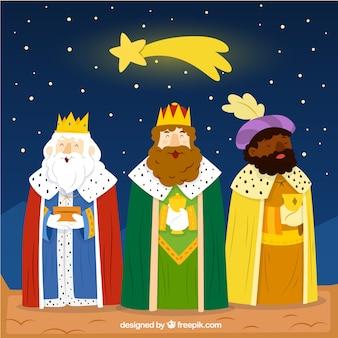Divertida ilustración de los reyes magos