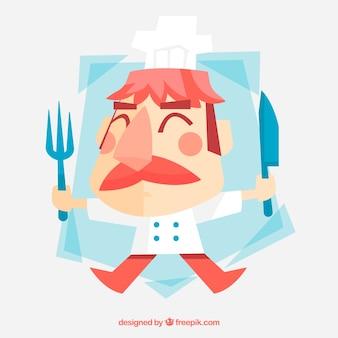 Divertido chef con cubiertos