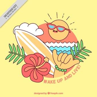 Divertido fondo de surf con una frase positiva