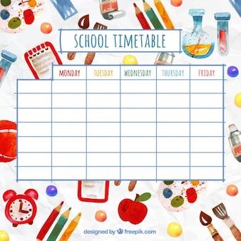 Divertido horario escolar con elementos de acuarela