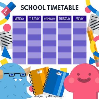Divertido horario escolar con simpáticos monstruos