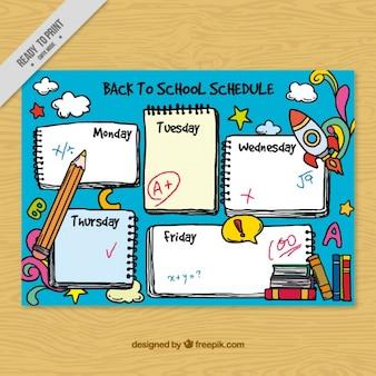 Divertido horario escolar dibujado a mano