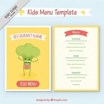 Divertido menú de niños con un simpático brocoli