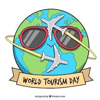 Divertido planeta tierra para el día mundial del turismo