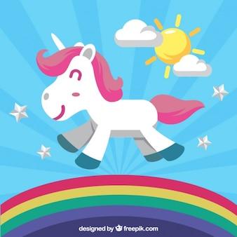 Divertido unicornio caminando en el arcoiris