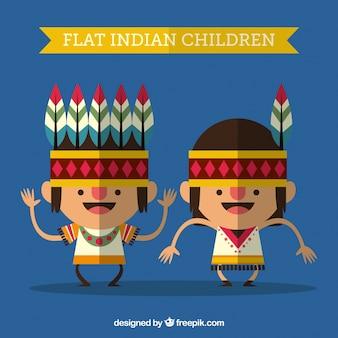 Divertidos niños indios en estilo plano