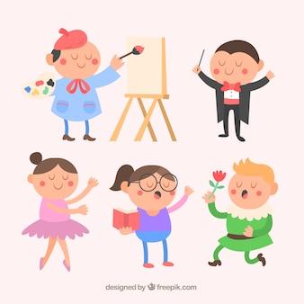 Divertidos personajes artísticos en estilo de dibujos animados