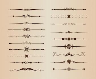Divisores de líneas ornamentales vectoriales