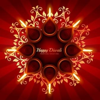 Diwali fondo con adornos florales