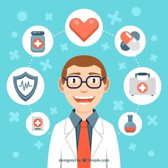 Doctor sonriente con elementos de la salud alrededor