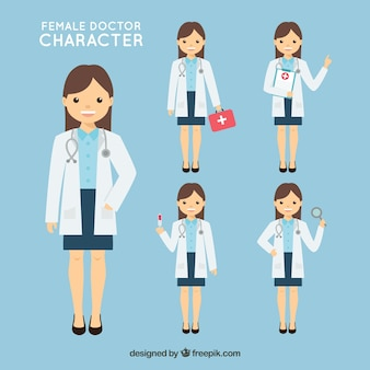 Doctora con diferentes utensilios