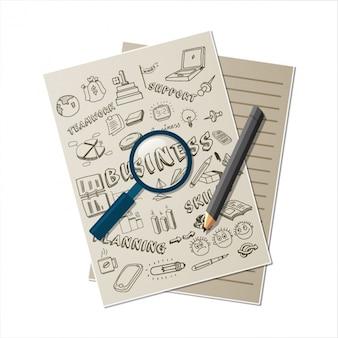 Documento de negocios con lápiz y lupa
