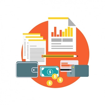 Documentos de negocios con monedas y una tarjeta de crédito