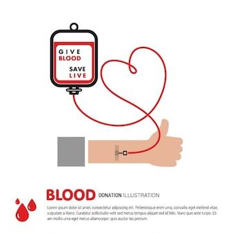 Donante de sangre con una bolsa de sangre y  un corazón