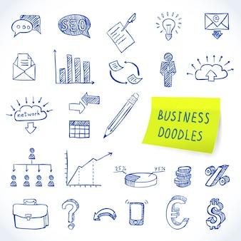 Doodle negocio conjunto de finanzas economía comercialización iconos decorativos aislados ilustración vectorial