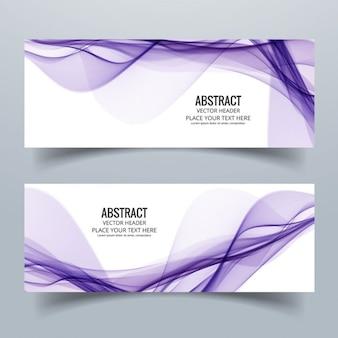 Dos banners abstractos con líneas púrpuras onduladas