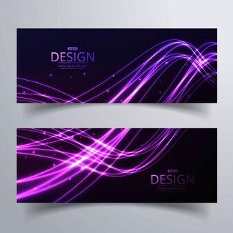 Dos banners con brillantes formas onduladas