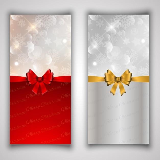 dos banners con lazos para navidad