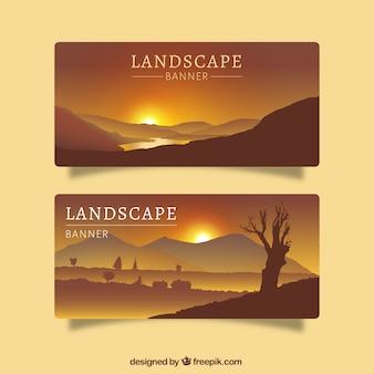 Dos banners con paisajes del desierto